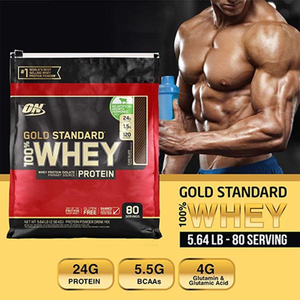 [HCM]Whey Protein Gold Standard Bịch 2.56kg 80 Servings Vị Chocolate + Vanila Bột Tăng Cơ Optimum Nutrition Gold Standard 100% nhập khẩu