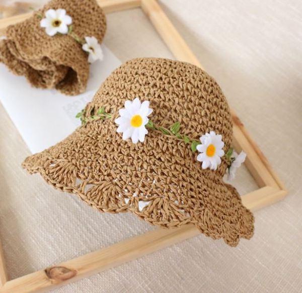 Nón cói vintage cho trẻ, mũ vành mềm màu nâu có ba bông hoa kiểu hàn quốc cho bé