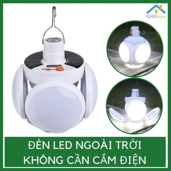 Đèn Led sạc tích điện năng lượng mặt trời hoặc qua cổng USB hình dạng chùm 5 bóng đèn cao cấp mã 37004