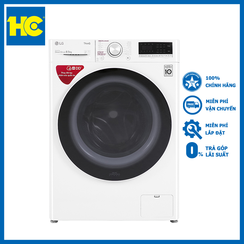 [Trả góp 0%]Máy giặt LG AI DD 8.5 kg FV1408S4W lồng ngang
