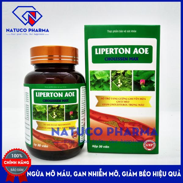 Viên uống giảm mỡ máu LIPERTON AOE- HSD 2023 - Ngừa gan nhiêm mỡ, máu nhiễm mỡ, xơ vữa động mạch, giảm béo hiệu quả - thành phần 100% thảo dược - Hộp 30 viên chuẩn GMP Bộ Y tế