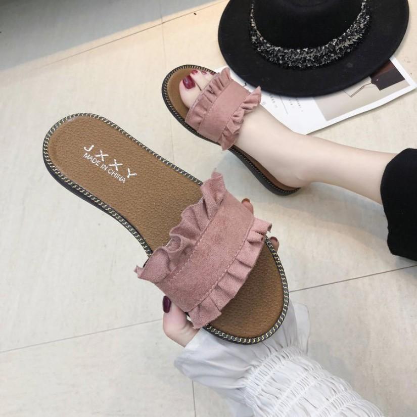 Dép thời trang nữ bèo nhún - Có quai ngang ở mu bàn chân - Tôn dáng chân đẹp giá rẻ