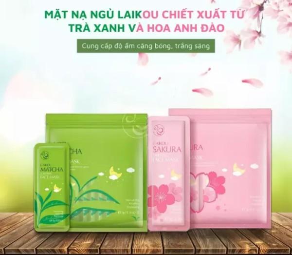 [COMBO 2 Bịch] Mặt Nạ Ngủ Trà Xanh Matcha Mud Mask + Mặt Nạ Ngủ Hoa Anh Đào Sakura Sleeping Face Mask Laikou - Mặt Nạ Dưỡng Da Cao Cấp