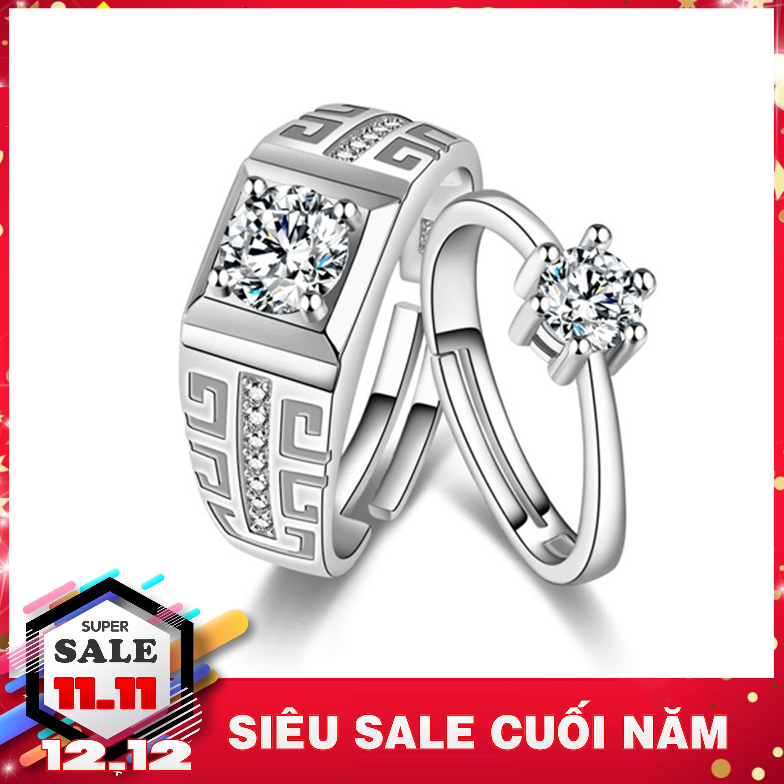 Nhẫn cặp bạc cao cấp - Nhẫn đôi bạc gắn đá - Trang sức bạc Panmila (TS-ND-PAJ041)