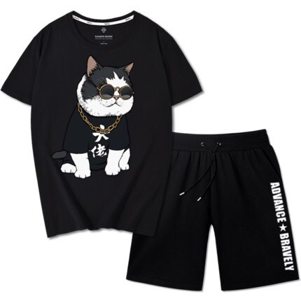 đồ bộ nam mặc nhà in hình chú mèo may mắn, đồ bộ hè nam, đồ tập gym nam, set thể thao nam chất thun mè thấm hút