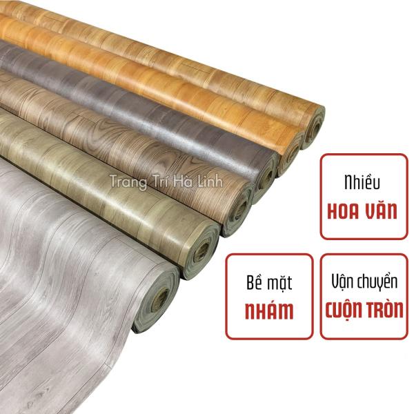 Thảm nhựa simili trải dán sàn nhà giả vân gỗ PVC giá rẻ bề mặt nhám như gỗ thật khổ 1m nhiều họa văn - Trang trí Hà Linh