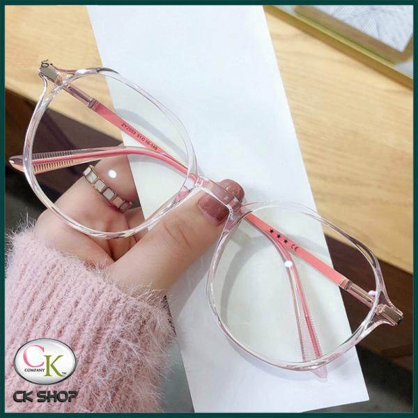 Mua Gọng kính cận nữ - nam mắt tròn kim loai/nhựa 2503 màu xanh, hồng, tím, đen. Tròng kính giả cận 0 độ chống ánh sáng xanh, chống nắng và tia UV (Tia cực tím)