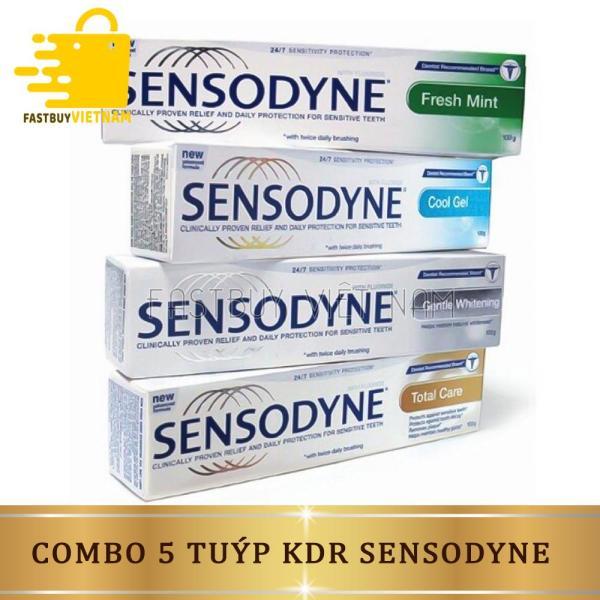 Combo 5 hộp kem đánh răng sensodyne giúp trắng răng hương thơm mát giảm ê buốt cao cấp