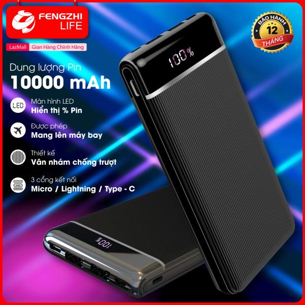 Giá Sạc dự phòng, pin sạc dự phòng dung lượng pin 10000mAh, sạc dư phòng màn hình hiển thị phần trăm pin, cổng USB 2A, dùng được cho ios và android, ĐẢM BẢO HÀNG CHÍNH HÃNG, Bảo Hành 12 Tháng.  FENGZHI LIFE J352
