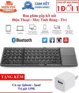 Quà Tặng Kèm Hấp Dẫn - Bàn phím không dây Bluetooth B033 có touchpad gấp gọn cho điện thoại máy tính bảng PC Laptop Android box - Bàn phím gấp gọn Bluetooth tích hợp chuột touchpad hỗ trợ chơi game B033 Aturos thumbnail