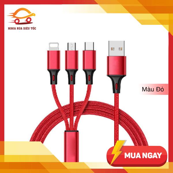 Giá Cáp Sạc Đa Năng Bọc Dù 3 Trong 1 Gồm Lightning - Micro USB - Type C, Chất Liệu Cao Cấp Độ Bền Cao