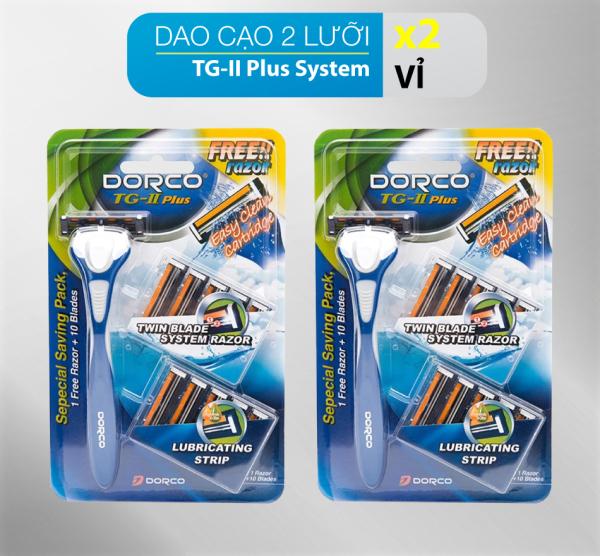 Combo 2 vỉ dao cạo râu 2 lưỡi DORCO TG-II Plus System kèm 10 đầu thay thế giá rẻ