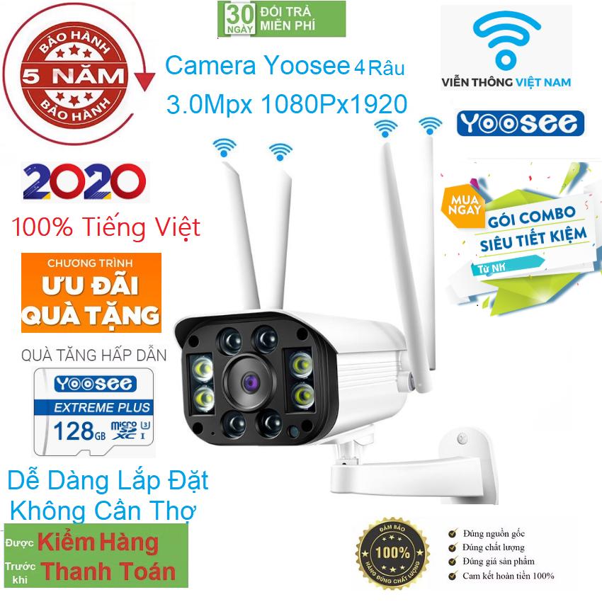 [CÓ MẦU BAN ĐÊM TẶNG THẺ NHỚ 128GB YOOSEE Cho mã 520k và không thẻ với mã 420  ] camera wifi 3.0 ngoài trời - trong nhà camera yoosee 4 Râu 3.0 Mpx full hd 1080p - hỗ trợ 4 đèn hồng ngoại và 4 đèn LED- Viễn Thông Đại Phát