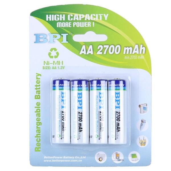 [P24] Pin sạc NiMH 1.2v AA dung lượng lớn 2700 mAh - loại tốt  thay thế eneloop pro - Vỉ 4 viên
