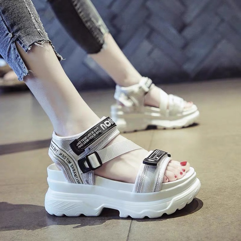 (2 MÀU) Sandal nữ thời trang đế cao siêu êm Ulzang cao cấp 2 màu Trắng Đen quai chữ RAW trẻ trung giá rẻ
