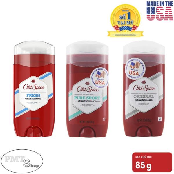 [USA] 1 chai Lăn sáp khử mùi nam Old Spice 85g Pure Sport   Fresh   Original Đỏ (sáp xanh trong) High Endurance - Mỹ