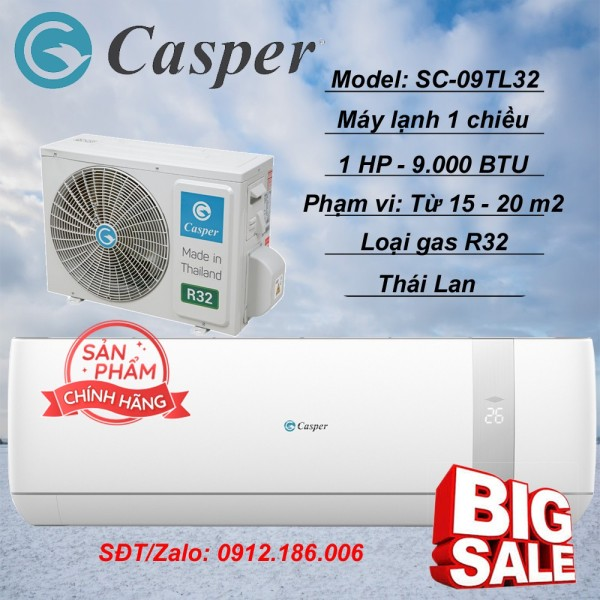 Máy lạnh Casper 1 HP (9.000BTU) SC-09TL32 - Hàng chính hãng (LIÊN HỆ VỚI NGƯỜI BÁN ĐỂ ĐẶT HÀNG)