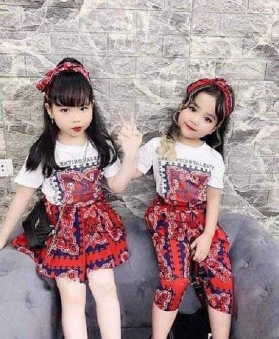 Combo 2 Bộ Thổ Cẩm gồm 2 áo + 01 Quần + 01 chân Váy Kèm 02 Turban cho Bé Gái