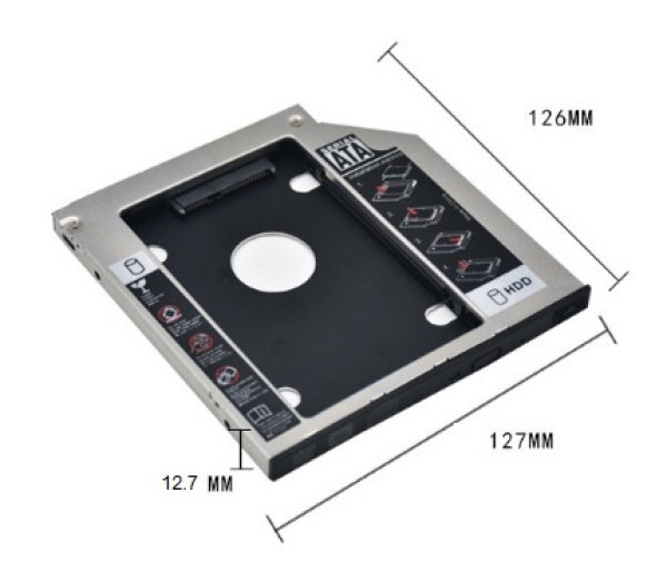 Giá Caddy Bay Nhôm HDD,SSD SATA 3 9.5mm/12.7mm - Khay ổ cứng thay thế ổ DVD