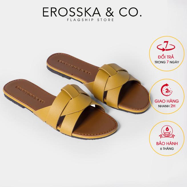 Dép nữ thời trang Erosska quai ngang đan chéo đế bệt DE028 (YE) giá rẻ