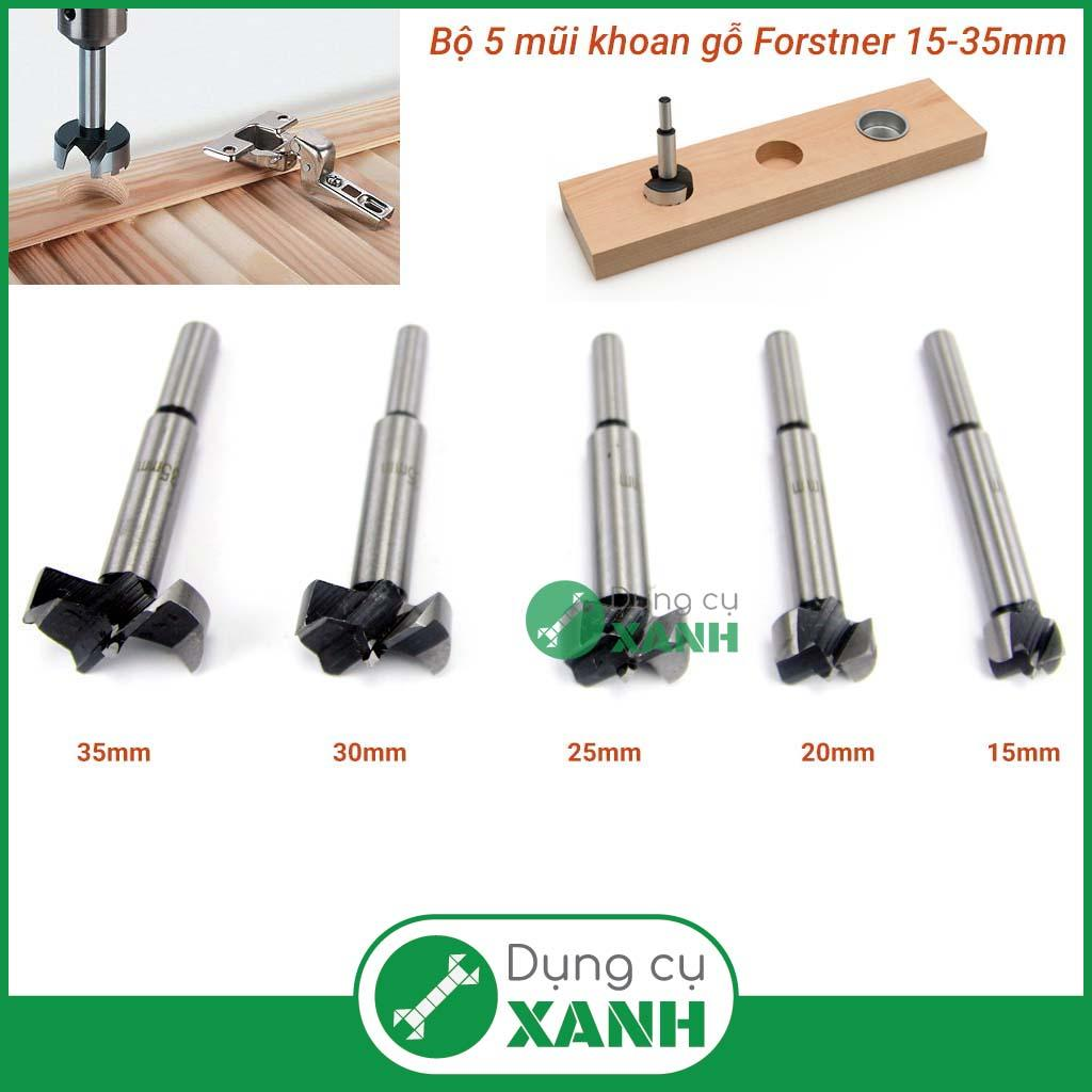 Bộ 5 mũi khoan bản lề, khoan gỗ kiểu forstner 10-35mm