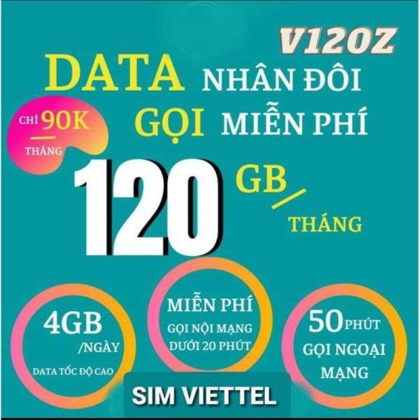 Sim 4G Viettel V120Z có ngay 4Gb/ngày, Gọi nội mạng miễn phí các cuộc gọi dưới 20 phút, ngoại mạng 50 phút/th)  - BẢO HÀNH từ MƯỜNG THANH ROYAL