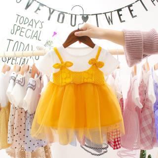 Mmbaby Đầm Bé Gái Mùa Hè, Váy Xòe Lưới 2 Mảnh Giả, Dây Đeo Nơ Cotton Ngắn Tay Váy Xòe Công Chúa 0-3 Tuổi
