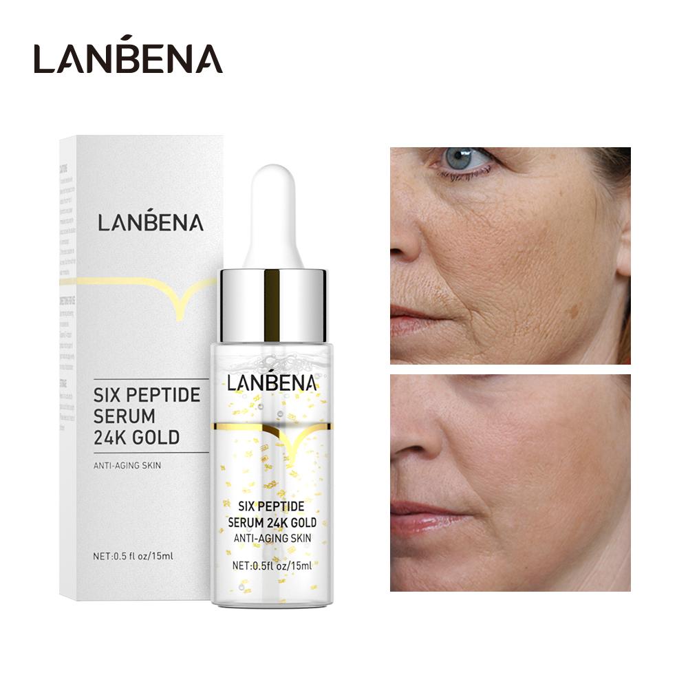 Serum LANBENA tinh chất vàng 24K 6 loại peptide chống lão hoá/nếp nhăn dưỡng ẩm làm sáng nuôi dưỡng da - INTL