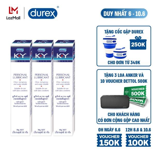 [6-10.6][VOUCHER ĐẾN 100K]Combo 3 gel bôi trơn Durex K-Y Jelly 50g ( KY Jelly)