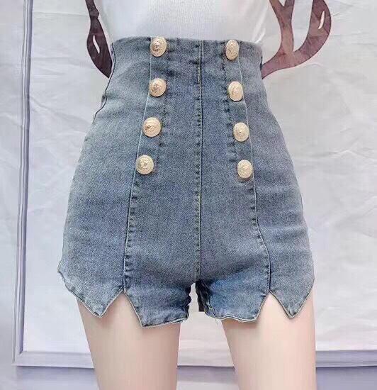 [ HOT HOT, HÌNH THẬT ] Quần sort jean nữ cao cấp HaDi lưng siêu cao đính 8 nút siêu đẹp-NL45607