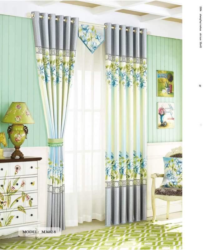 (Có kèm video sản phẩm)Rèm cửa sổ, cửa phòng ngủ chống nắng giá rẻ, màn cửa sổ hoạ tiết nhành hoa, màu xanh TNS-045