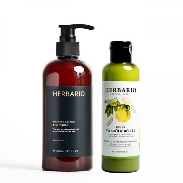 Combo DẦU GỘI và DẦU XẢ vỏ bưởi và bồ kết Herbario 300ml x 2 giúp chăm sóc tóc