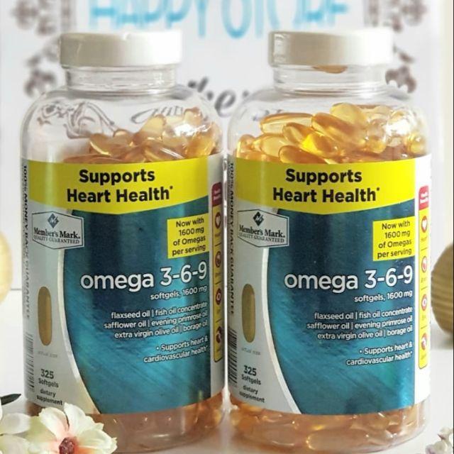 Viên uống Omega 3 6 9 Member's Mark Supports Heart Health 325 Viên, Mỹ