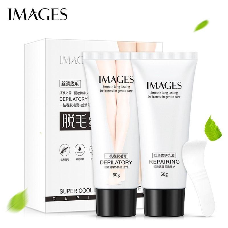 Bộ đôi Kem tẩy lông và kem dưỡng dịu da sau tẩy lông IMAGES kem triệt lông 60g XP-KT011, kem triệt lông chính hãng