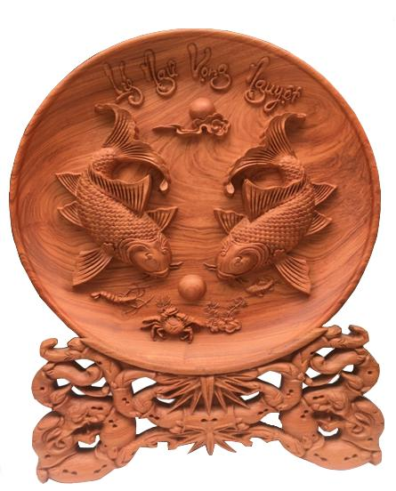 Mua Đĩa gỗ Hương Đá - Lý Ngư Vọng Nguyệt