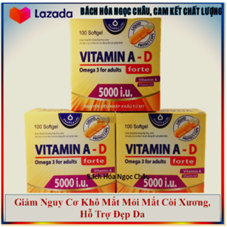 Viên Uống Vitamin A D bổ sung vitamin, giảm nguy cơ khô mắt, mỏi mắt, còi xương, hỗ trợ đẹp da hộp 100 viên thumbnail