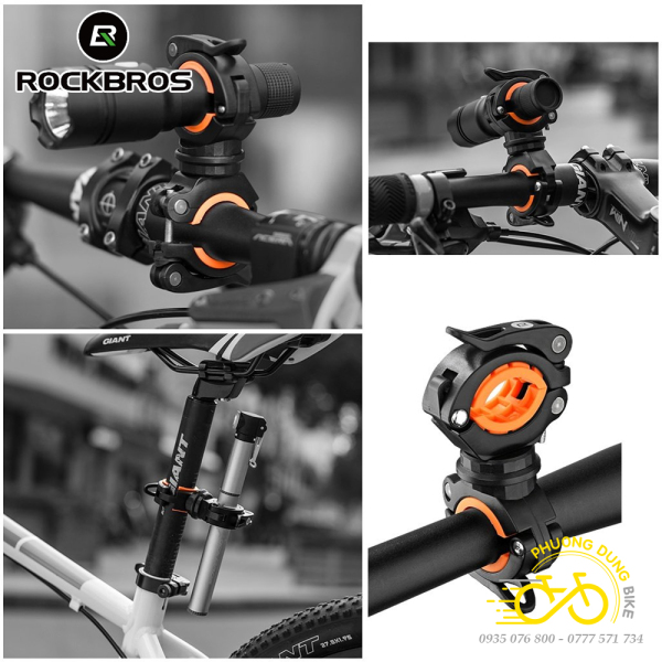 Giá kẹp đèn pin xe đạp xoay 360 2 đầu ROCKBROS