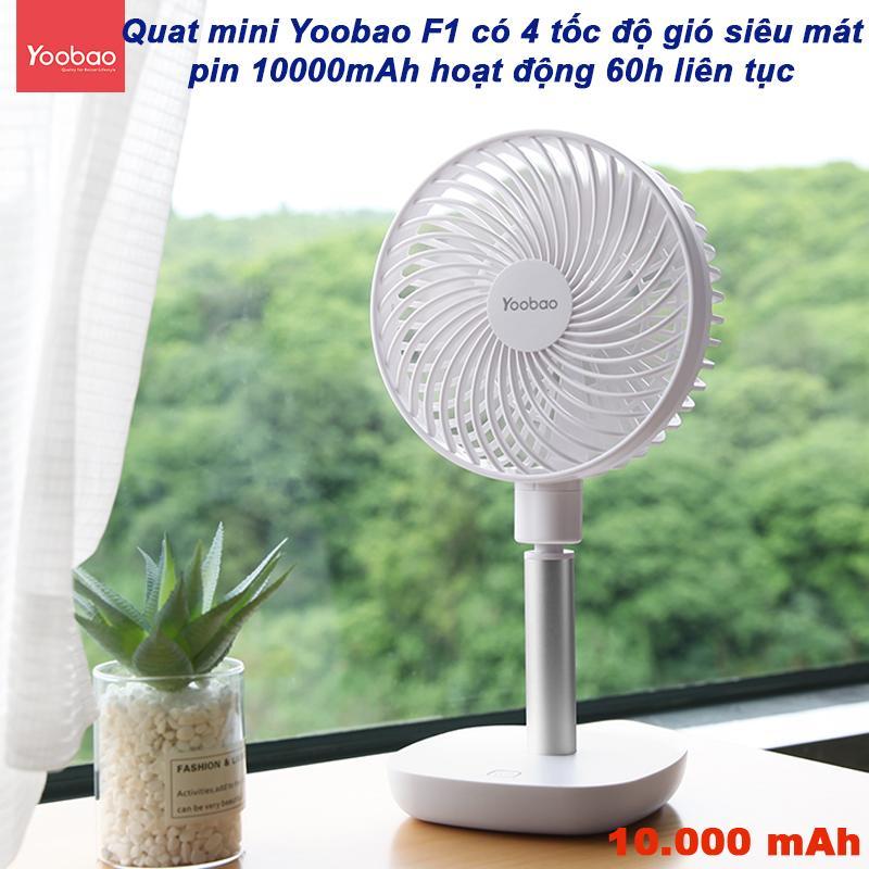 Quạt mini tích điện pin sạc siêu bền dùng thoải mái 3 ngày liền với 4 tốc độ quạt Yoobao Y- F1 ( Pin siêu khủng 10000mAh cho thời gian dùng từ 38-60 giờ ) Vietstore
