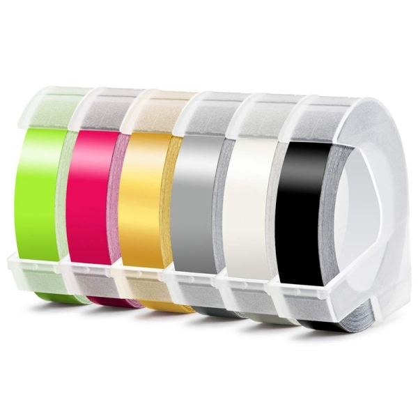 Bảng giá 6 Roll Embossing Label Maker Tape 3D Plastic 9mm x 3Meter Embossing Label Tape White on Black/ Clear/ Silver/ Gold/Fluorescent Pink/Fluorescent Green for Dymo Label Maker Phong Vũ