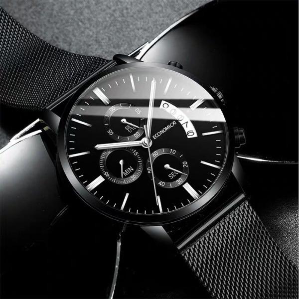 Nơi bán Đồng hồ nam YOLAKO dây thép đen chạy lịch ngày ECI-TQ09