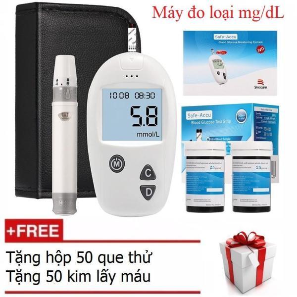 Bộ máy đo đường huyết Sinocare Safe Accu tặng 1 hộp 50 que thử và hộp 50 kim chích máu