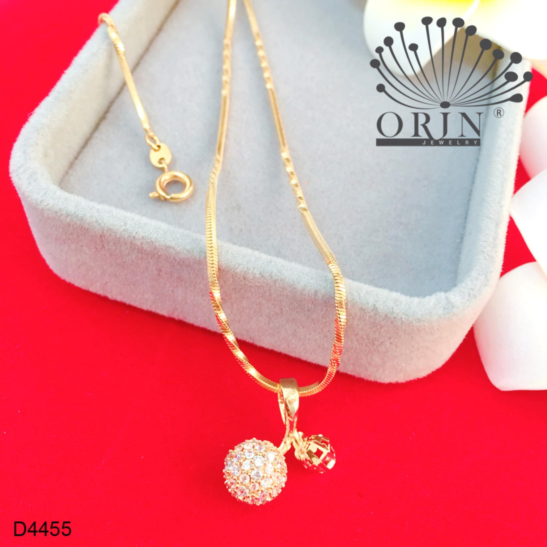 Dây chuyền mạ vàng 24k dạng mì xoắn mặt trái cherry đính đá thiết kế cao cấp Orin D4455