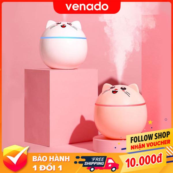 Máy phun sương nano tạo độ ẩm hình Mèo Cute phun khỏe có đèn led đổi màu - Venado