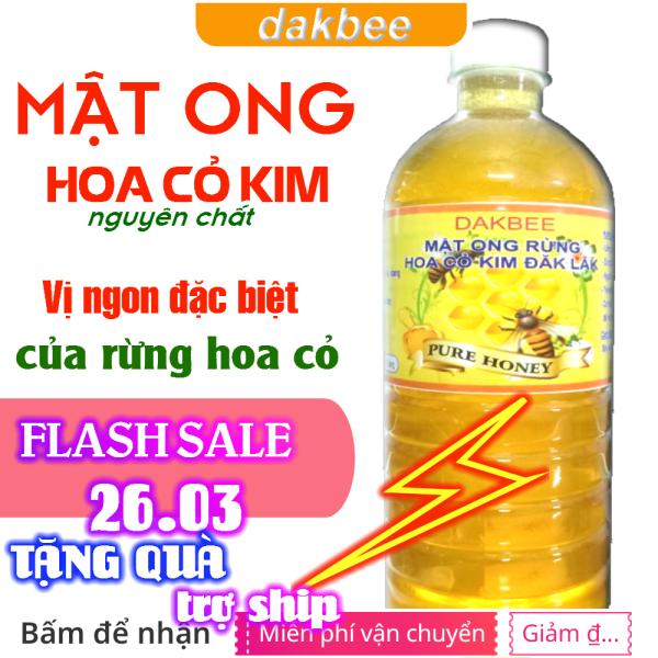 1 LÍT Mật ong rừng hoa cỏ kim nguyên chất - dakbee - giàu dinh dưỡng, tăng cường sức đề kháng