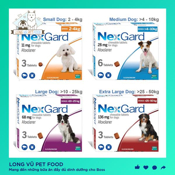 Viên nhai NEXGARD phòng và diệt ve, rận, ghẻ cho chó - Long Vũ Pet Food