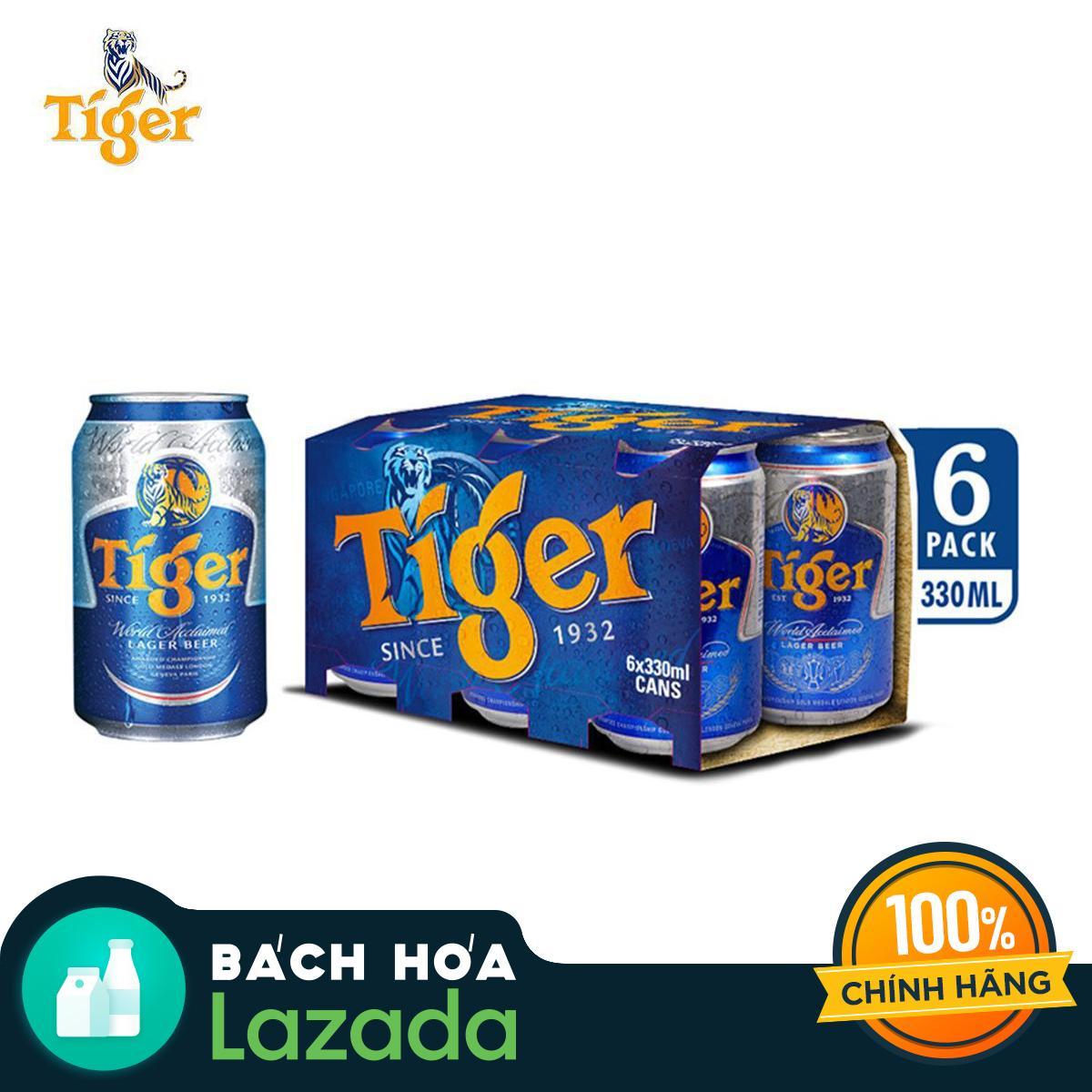 Lốc 6 Lon Bia Tiger 330ml Đang Trong Dịp Khuyến Mãi