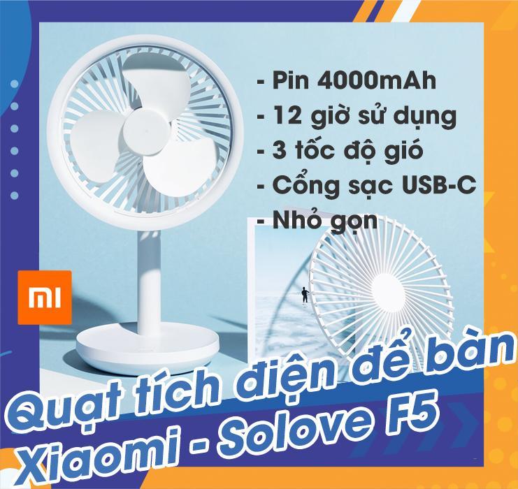 Quạt tích điện để bàn Xiaomi - Solove F5, chạy 12 tiếng, pin 4000mAh, công suất 5W, 3 tốc độ, có tuốc năng quay, 3 màu sắc tùy chọn - Màu trắng