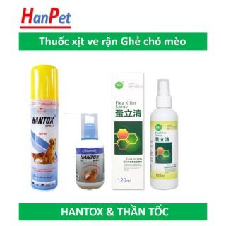 Hantox và Thần tốc - Thuốc trị ve, ghẻ, chấy, rận, bọ chét trên chó mèo, dạng xịt Hantox xịt 100ml thumbnail