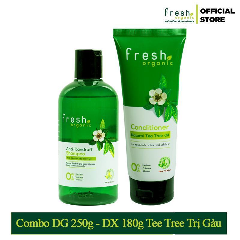 Bộ Dầu Gội Và Dầu Xả Dưỡng Tóc Tràm Trà Trị Gàu - Fresh Organic Tea Tree Oil (250g + 180g) giá rẻ