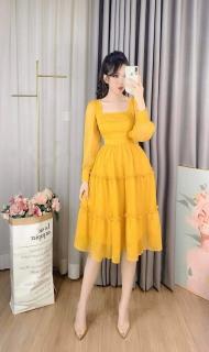 Váy đầm xòe nữ cổ vuông ba tầng thời trang TOMB thumbnail